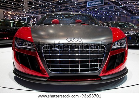 GENEVA - MARCH 8: The Audi TT Quattro on display at the 81st International Motor Show Palexpo-Geneva on March 8; 2011  in Geneva, Switzerland. - stock photo