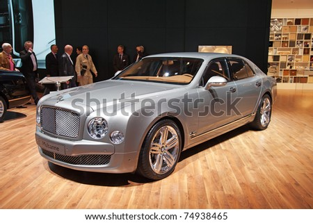 GENEVA - MARCH 8: The Bentley Mulsanne on display at the 81st International Motor Show Palexpo-Geneva on March 8, 2011  in Geneva, Switzerland. - stock photo