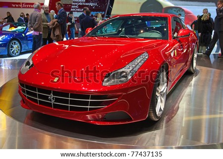 GENEVA - MARCH 8: The Ferrari FF preview on display at the 81st International Motor Show Palexpo-Geneva on March 8; 2011  in Geneva, Switzerland.