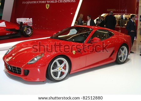 GENEVA - MARCH 2: The Ferrari 599 GTB FIORANO on display at the 81st International Motor Show Palexpo-Geneva on March 2, 2011 in Geneva, Switzerland. - stock photo
