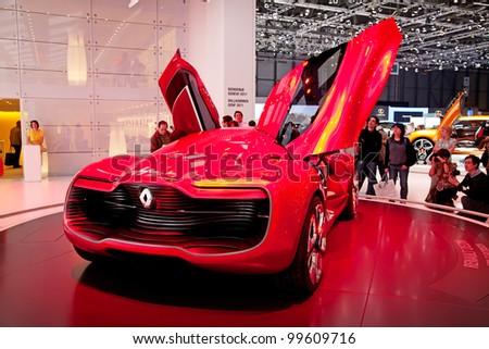 GENEVA - MARCH 8: The futuristic Renault Dezir concept car on display at the 81st International Motor Show Palexpo-Geneva on March 8; 2011  in Geneva, Switzerland. - stock photo
