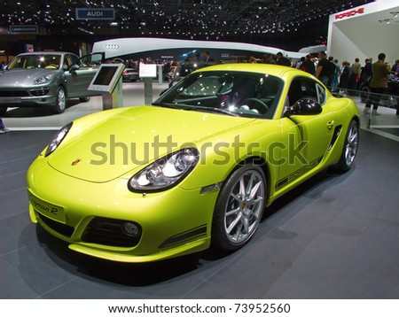 GENEVA - MARCH 8: The Porsche Cayman R on display at the 81st International Motor Show Palexpo-Geneva on March 8; 2011  in Geneva, Switzerland. - stock photo