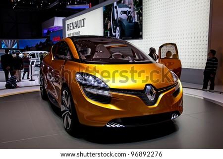 GENEVA - MARCH 8: The Renault Captur concept car on display at the 81st International Motor Show Palexpo-Geneva on March 8; 2011  in Geneva, Switzerland. - stock photo