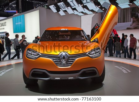 GENEVA - MARCH 8: The Renault Captur futuristic concept car is on preview on the 81st International Motor Show Palexpo-Geneva on March 8, 2011  in Geneva, Switzerland. - stock photo