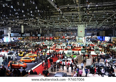 GENEVA - MARCH 12: Various makes and models of cars are on display at the 82nd International Motor Show on March 12, 2012 in Geneva, Switzerland. - stock photo