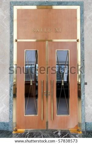 GENEVA - MAY 15 Entrance door to a meeting room in the United Nations Headquarter & GENEVA MAY 15 Entrance Door Meeting Stock Photo u0026 Image (Royalty ...