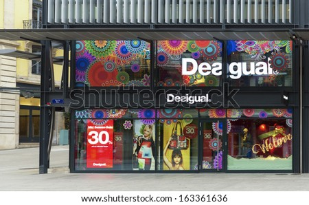 GENEVA, NOVEMBER 17: An outlet of Desigual, November 17, 2013, Geneva, Switzerland. With sales of 450 million Euros in 2010, it sold 15,000,000 garments in 8,800 points of sale in 72 countries.