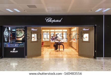 GENEVA - OCTOBER 21: A Chopard outlet, October 21, 2013, Geneva, Switzerland. Chopard is a Swiss luxury watch, jewelry, and accessories company with 100 stores and sales of �550 million in 2011.