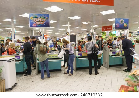 GENEVA - SEP 15: checkout counter in supermarket on September 15, 2014 in Geneva, Switzerland. Geneva is the second most populous city in Switzerland and is the most populous city of Romandy - stock photo