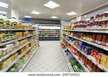 GENEVA - SEP 15: supermarket interior on September 15, 2014 in Geneva, Switzerland. Geneva is the second most populous city in Switzerland and is the most populous city of Romandy - stock photo