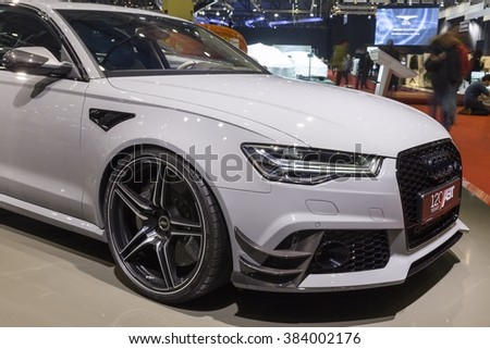 Geneva, Switzerland - February 29, 2016: ABT Sportsline Audi RS6  presented on the 86th Geneva Motor Show in the PalExpo