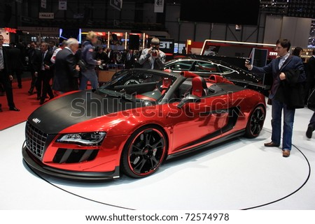 GENEVA, Switzerland - MARCH 3 : A AUDI ABT car on display at 81th International Motor Show Palexpo-Geneva on March 3, 2010 in Geneva, Switzerland. - stock photo