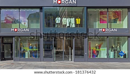 GENEVA, SWITZERLAND -�� MARCH 2, 2014: A Morgan fashion outlet.  It is owned by Beaumanoir which has 2,500 shops worldwide with brands Cache-Cache, Patrice Br�©al, Scottage, Morgan, La City and Bonobo. - stock photo