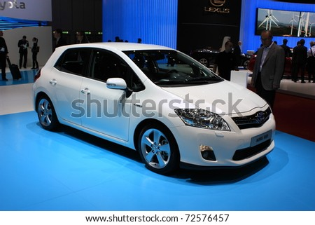 GENEVA, Switzerland - MARCH 3 : A TOYOTA AURIS HSO car on display at 81th International Motor Show Palexpo-Geneva on March 3, 2010 in Geneva, Switzerland.