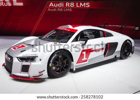 GENEVA, SWITZERLAND - MARCH 3, 2015: Audi R8 LMS reveiled at the 85th International Geneva Motor Show in Palexpo. - stock photo