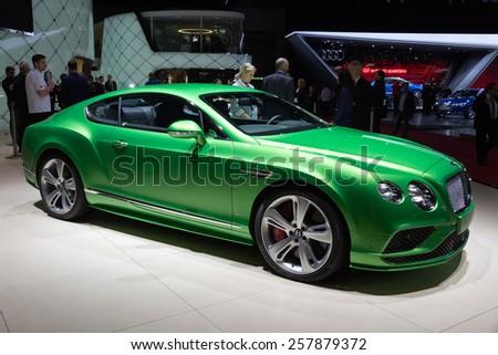 GENEVA, SWITZERLAND - MARCH 4, 2015: Bentley Continental GT Speed at the 85th International Geneva Motor Show in Palexpo.  - stock photo