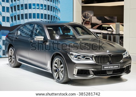 GENEVA, SWITZERLAND - MARCH 1, 2016: BMW 760Le xDrive iPerformance presented at the 86th International Geneva Motor Show in Palexpo, Geneva. - stock photo