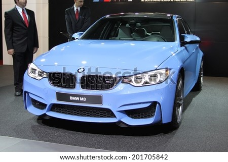 GENEVA, SWITZERLAND - MARCH 4, 2014: 2014 BMW M3 presented at the 84th International Geneva Motor Show on March 4, 2014 in Palexpo, Geneva, Switzerland - stock photo