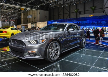 GENEVA, SWITZERLAND - MARCH 4, 2014: Ford Mustang convertible on display during the Geneva Motor Show.