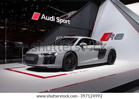 GENEVA, SWITZERLAND - MARCH 1: Geneva Motor Show on March 1, 2016 in Geneva, Audi R8 V10, front-side view - stock photo