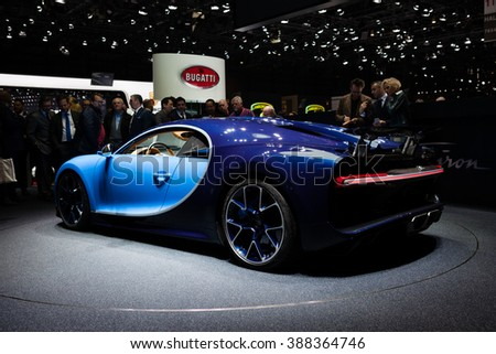 GENEVA, SWITZERLAND - MARCH 1: Geneva Motor Show on March 1, 2016 in Geneva, Bugatti Chiron, rear-side view - stock photo