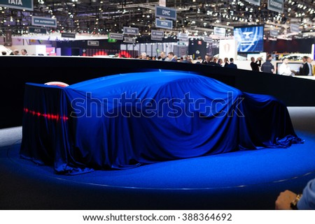 GENEVA, SWITZERLAND - MARCH 1: Geneva Motor Show on March 1, 2016 in Geneva, Bugatti Chiron, under cover view - stock photo