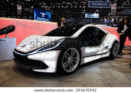 GENEVA, SWITZERLAND - MARCH 1: Geneva Motor Show on March 1, 2016 in Geneva, EDAG 3D-Printed Soulmate Concept, front-side view - stock photo