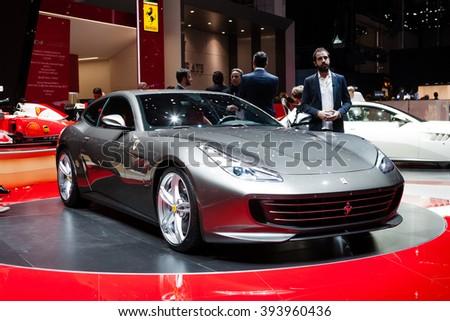 GENEVA, SWITZERLAND - MARCH 1: Geneva Motor Show on March 1, 2016 in Geneva, Ferrari GTC4 Lusso, front-side view - stock photo