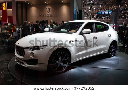 GENEVA, SWITZERLAND - MARCH 1: Geneva Motor Show on March 1, 2016 in Geneva, Maserati Levante, front-side view - stock photo