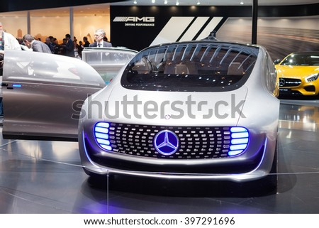 GENEVA, SWITZERLAND - MARCH 1: Geneva Motor Show on March 1, 2016 in Geneva, Mercedes-Benz F 015 Concept Vehicle, front view - stock photo