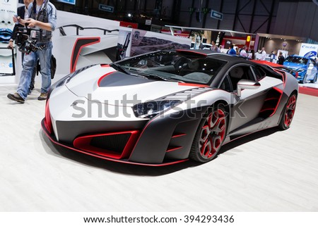 GENEVA, SWITZERLAND - MARCH 1: Geneva Motor Show on March 1, 2016 in Geneva, Nimrod AventiRosso Lamborghini Aventador, side-front view - stock photo