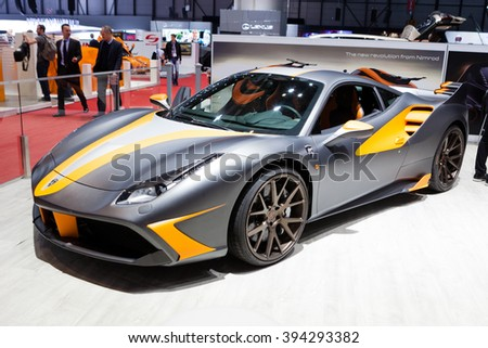 GENEVA, SWITZERLAND - MARCH 1: Geneva Motor Show on March 1, 2016 in Geneva, Nimrod LeMans Ferrari 488 GTB, side-front view - stock photo