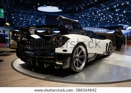 GENEVA, SWITZERLAND - MARCH 1: Geneva Motor Show on March 1, 2016 in Geneva, Pagani Huayra BC, rear-side view - stock photo