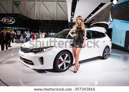 GENEVA, SWITZERLAND - MARCH 1: Geneva Motor Show on March 1, 2016 in Geneva, Peugeot 308R, side-front view - stock photo