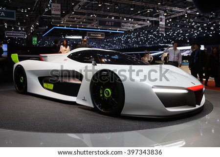 GENEVA, SWITZERLAND - MARCH 1: Geneva Motor Show on March 1, 2016 in Geneva, Pininfarina H2 Speed concept, front-side view - stock photo