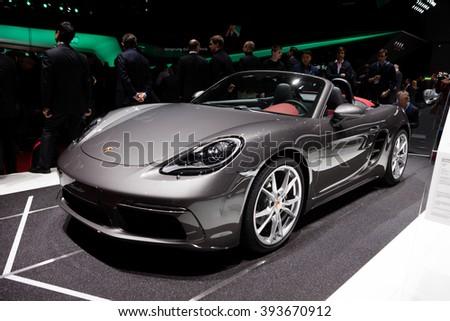 GENEVA, SWITZERLAND - MARCH 1: Geneva Motor Show on March 1, 2016 in Geneva, Porsche 718 Boxster, front-side view - stock photo