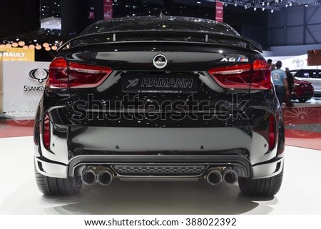 Geneva, Switzerland - March 1, 2016: 2016 Hamann BMW X6M presented on the 86th Geneva Motor Show in the PalExpo