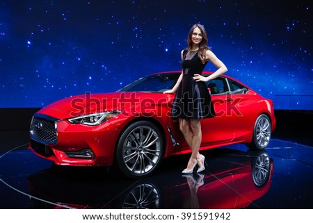 Geneva, Switzerland - March 1, 2016: Infiniti Q60, front-side view presented on the 86th Geneva Motor Show in the PalExpo - stock photo