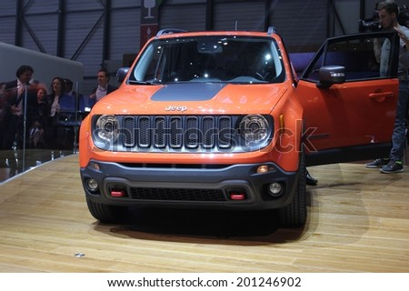 GENEVA, SWITZERLAND - MARCH 4, 2014: 2014 Jeep Renegade presented at the 84th International Geneva Motor Show on March 4, 2014 in Palexpo, Geneva, Switzerland