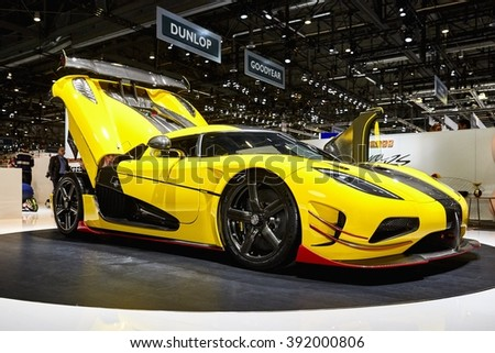 Geneva, Switzerland - March 1, 2016: 2016 Koenigsegg Agera RS presented on the 86th Geneva Motor Show in the PalExpo - stock photo