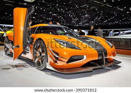 Geneva, Switzerland - March 1, 2016:  2016 Koenigsegg One of 1 presented on the 86th Geneva Motor Show in the PalExpo - stock photo