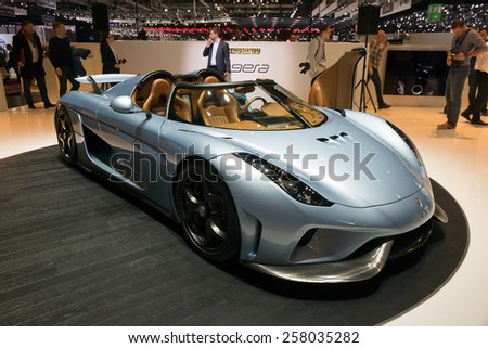 GENEVA, SWITZERLAND - MARCH 3, 2015: Koenigsegg Regera  at the 85th International Geneva Motor Show in Palexpo. - stock photo