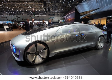 GENEVA, SWITZERLAND - MARCH 1, 2016: Mercedes Benz autonomous concept car at the 86th International Geneva Motor Show in Palexpo, Geneva.