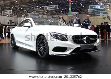 GENEVA, SWITZERLAND - MARCH 4, 2014: 2015 Mercedes-Benz S-Class Coupe presented at the 84th International Geneva Motor Show on March 4, 2014 in Palexpo, Geneva, Switzerland