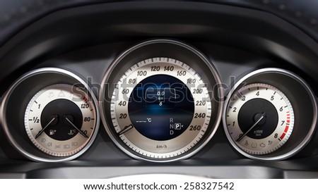 GENEVA, SWITZERLAND - MARCH 4, 2015: Mercedes E220 BlueTEC dashboard gauges at the 85th International Geneva Motor Show in Palexpo. - stock photo