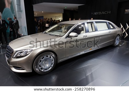 GENEVA, SWITZERLAND - MARCH 3, 2015: Mercedes-Maybach S 600 Pullman released at the 85th International Geneva Motor Show in Palexpo. - stock photo