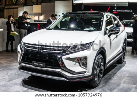 Geneva, Switzerland, March 06, 2018: Metallic White Mitsubishi Eclipse  Cross At 88th