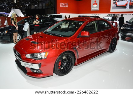 GENEVA, SWITZERLAND - MARCH 4, 2014: Mitsubishi Lancer EVO on display during the Geneva Motor Show.