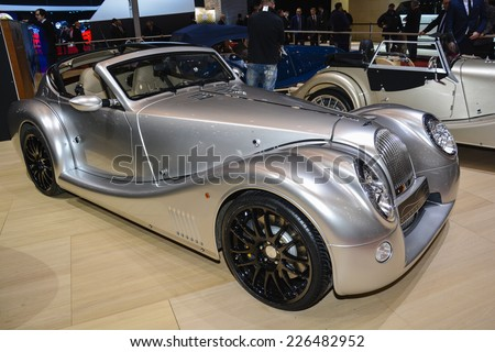 GENEVA, SWITZERLAND - MARCH 4, 2014: Morgan Aero coupe on display during the Geneva Motor Show. - stock photo