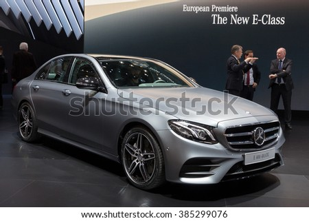 GENEVA, SWITZERLAND - MARCH 1, 2016: New 2015 Mercedes-Benz E400 4MATIC Coupe shown at the 86th International Geneva Motor Show in Palexpo, Geneva.